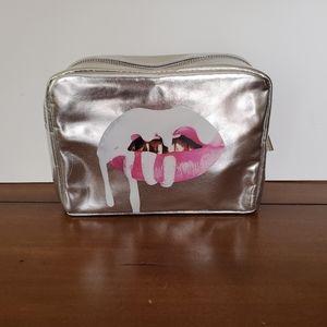 Silver metallic Kylie cosmetics Lips make up bag